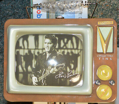 Elvis Presley Tv Collectible Tin Lunch Box Tote Vandor With 5 Elvis Tv Guides