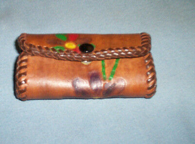 Tooled Leather Flowered  Key Holder