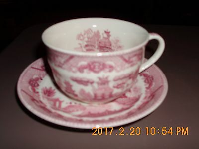 Nice! Vintage Pink Willow Cup And Saucer Set-Made In Japan