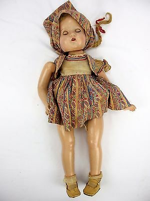 """1920's Composition Doll 23"""" Tall Girl w/Original Clothes Antique"""