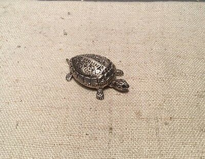 Buccellati Italy Vintage Authentic Sterling Silver Figural Turtle Pill Box