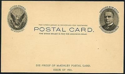 "#ux17 ""mckinley"" Postal Card Die Proof 1901 Xf-Superb Wlm2761"