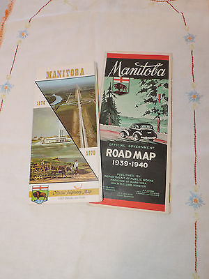 2 Manitoba Official Highway Maps 1939-1940 and 1970 Centennial Edition