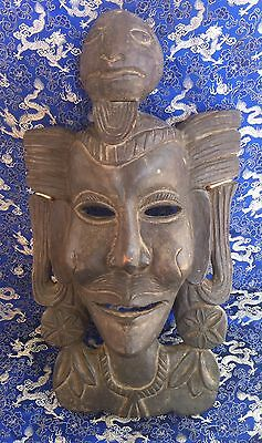 Tantric / Shaman Mask - Hand Carved In Wood - Tamang Tradition -  Antique - Nepa