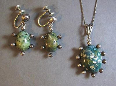 Vintage 3M Taxco Mexico Sterling Silver Green Gemstone Necklace & Earring Set