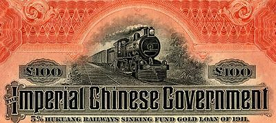 China Government 1911 Hukuang Railway £100 Bond With Coupons Uncancelled