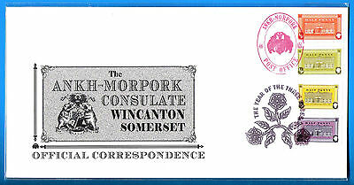DISCWORLD STAMPS CONSULATE COVER 2008 THREE ROSES 4 x HALF PENNY POST OFFICE