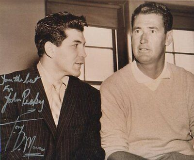 Tony DeMarco Autographed 8x10 Photo Boxing Great w/ Ted Williams to Johnny Pesky
