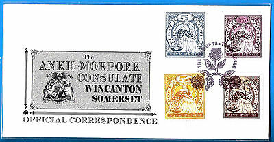 DISCWORLD STAMPS CONSULATE COVER 2008 THREE ROSES 4 x FIVE PENCE MORPORKIA