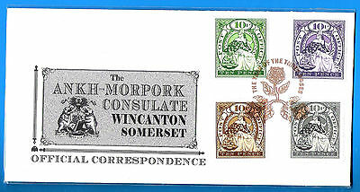 DISCWORLD STAMPS CONSULATE COVER 2008 THREE ROSES 4 x TEN PENCE MORPORKIA