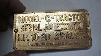 Tractor,Two Cylinder Club,Brass John Deere Model C Serial Number Plate