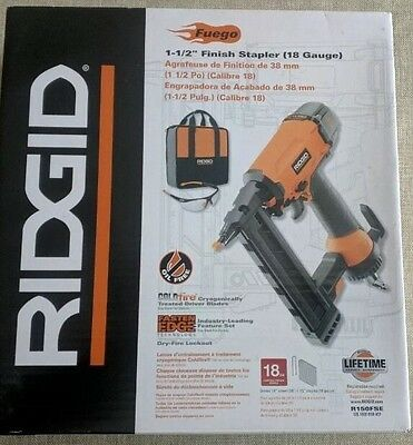 "NEW RIDGID R150FSE 18-Gauge 1-1/2 in. 1 1/2"" Finish Stapler With Storage Bag"