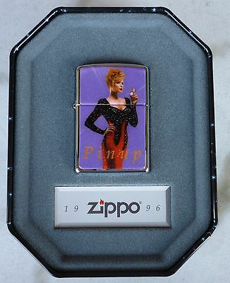 """New In Collectible Tin 1996 Zippo  """"joan"""" Pinup Girls Lighter"""