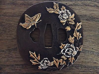 Collectable Japanese Katana TSUBA Brass Flowers Sword Signed Guard