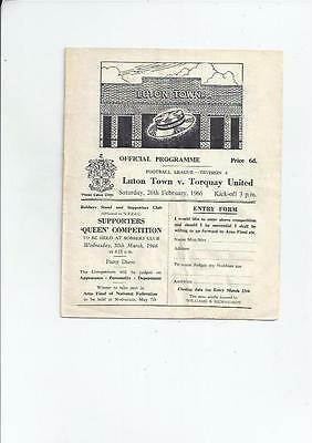 Luton Town v Torquay United Football Programme 1965/66