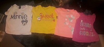 baby girls tops x4 age 9-12 months