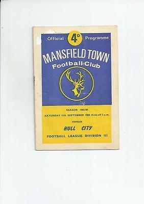 Mansfield Town v Hull City Football Programme 1965/66