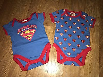 SUPERMAN Blue And Red Vests By Mothercare 0-3 Months Used
