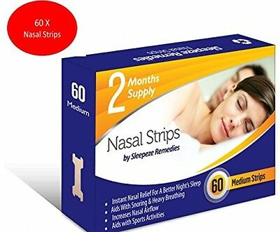 Stop Snoring Nasal Strips Medium - Snoring Cure (60 Strips) By Sleepeze - These
