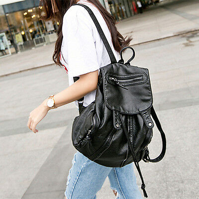 Women Leather Backpack Girls Travel Handbag Student Rucksack Black Shoulder Bag