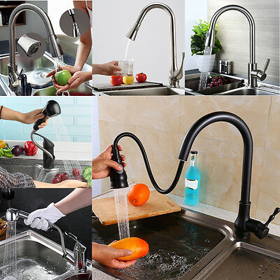 360° Swivel Flexible Brass Pull Out Hot Cold Water Mixer Tap Kitchen Sink Faucet