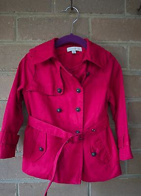WITCHERY Girls Red Trench Coat Jacket Size 2-3 in VGC