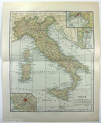 Original 1914 Map of Italy by L. L. Poates