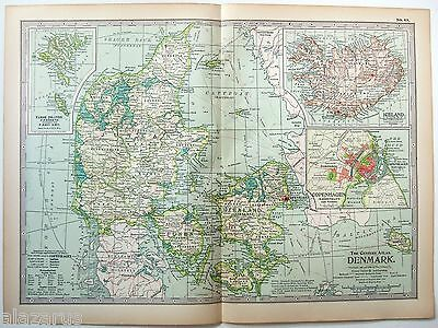 Original 1902 Map of Denmark - A Nicely Detailed Color Lithograph