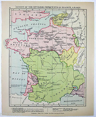 Vintage Longmans Map of English Conquests in France in the Year 1429