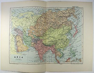 Original 1895 Map of Asia in the Colonial Era by W & A.K. Johnston