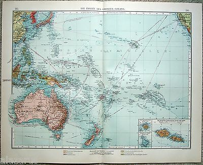 Large Original 1903 Map of The Islands of the Pacific by Velhagen & Klasing