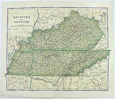 Original 1895 Map of Kentucky & Tennessee by Dodd Mead & Company