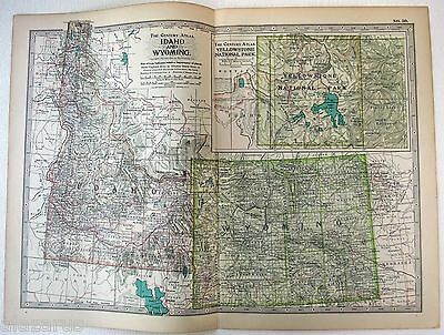 Original 1902 Map of Idaho & Wyoming by The Century Comapny