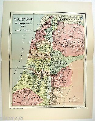 Original 1895 Map of The Holy Land by W & A.K. Johnston - Palestine
