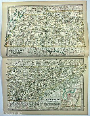 Original 1897 Map of Tennessee by The Century Company