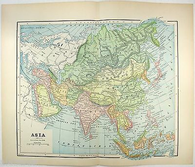 Original 1891 Map of Asia by Hunt & Eaton