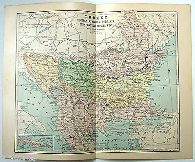 Original 1885 Map of Turkey & The Balkans by Phillips & Hunt