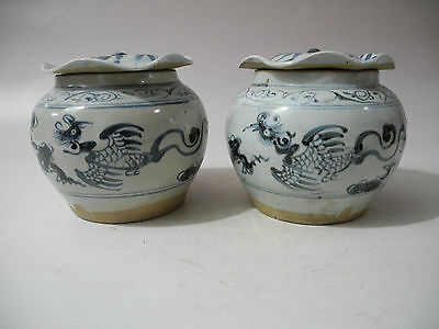 Chinese Ming Dynasty A Pair blue white phoenix Porcelain Pots