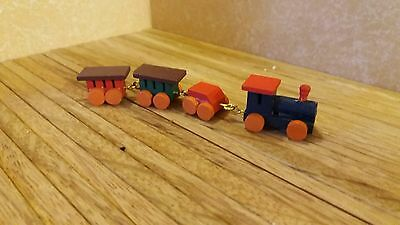 dolls house toys 12th scale, little wooden train  - by Debbie