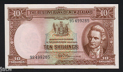 NEW ZEALAND P-158d. (1967) Ten Shillings - Fleming.. Last Prefix 9S..  UNC