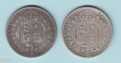 Great Britain.   Jubilee Head Victoria - Halfcrowns : 1887 & 1889.. aF-F