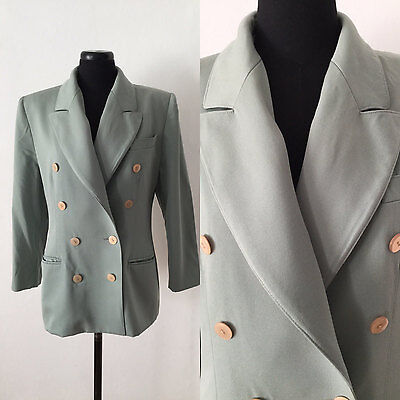 Vintage 1980s Seafoam Green Wool Tailored Jacket Blazer | French | M | Double