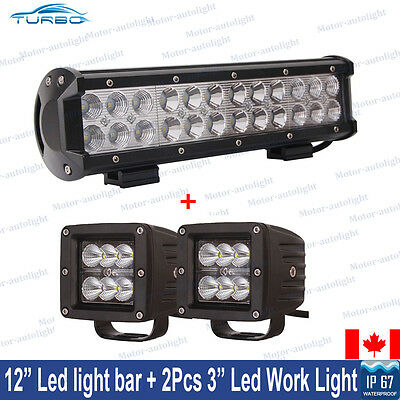 12inch CREE LED Light Bar + 2x 3inch Cube Pod Driving Work Lights Truck UTE Jeep