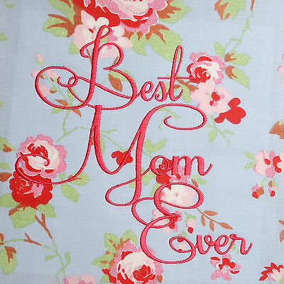 BEST MOM Floral Fabric Embroidered Cushion Panel Block 100% Cotton