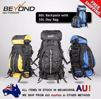 80L Backpack with day bag Camping Hiking Travel RUCKSACK RAIN COVER