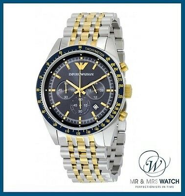 New Men's Emporio Armani Two Tone Blue Dial Chronograph Watch-AR6088-RRP £339