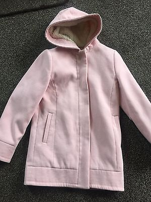 Girls Pink Warm Smart Hooded 3/4 Coat  Age 9/10 Years