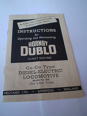 HORNBY DUBLO MODEL RAILWAYS INSTRUCTION 1960 Co-CoEDITION NEAR EXCELLENT FOR AGE