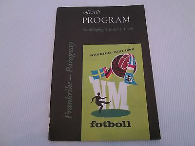 1958 WORLD CUP FRANCE v PARAQUAY OFFICIAL PROGRAMME