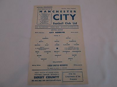1964-65  CENTRAL LEAGUE RESERVES MANCHESTER CITY v LEEDS UNITED